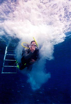 Image from below of diver entering water