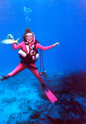 Woman enjoying her dive in the Florida Keys